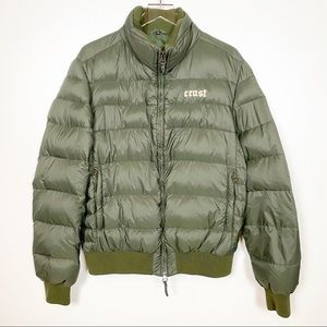 Cinelli Studio Crust Down Puffer Coat Green Drab